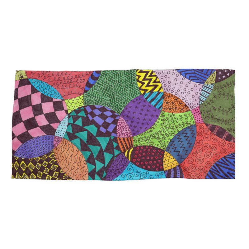 Circle of Tangles Accessories Beach Towel by Margie Mark's Artist Shop