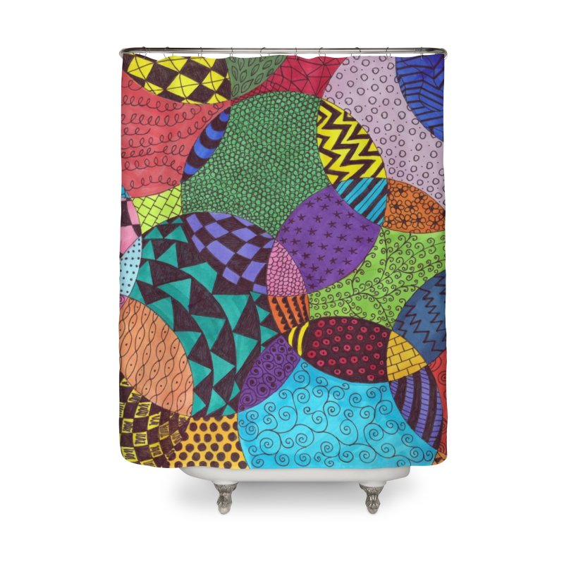 Circle of Tangles Home Shower Curtain by Margie Mark's Artist Shop