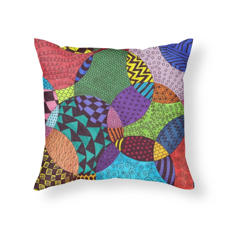 Circle of Tangles Home Throw Pillow by Margie Mark's Artist Shop