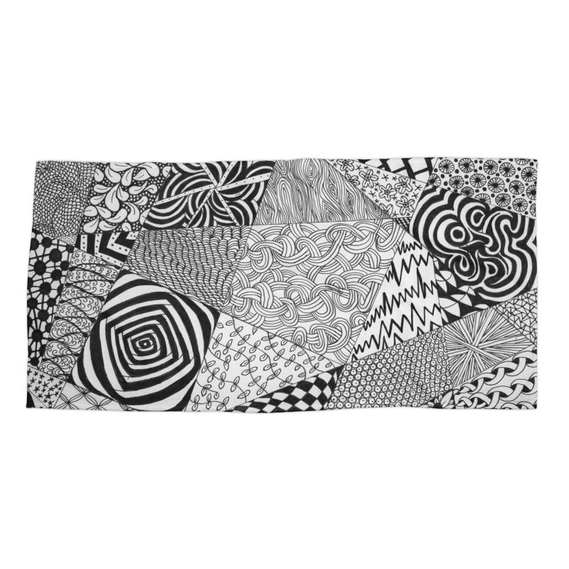 Black and White Tangle Accessories Beach Towel by Margie Mark's Artist Shop