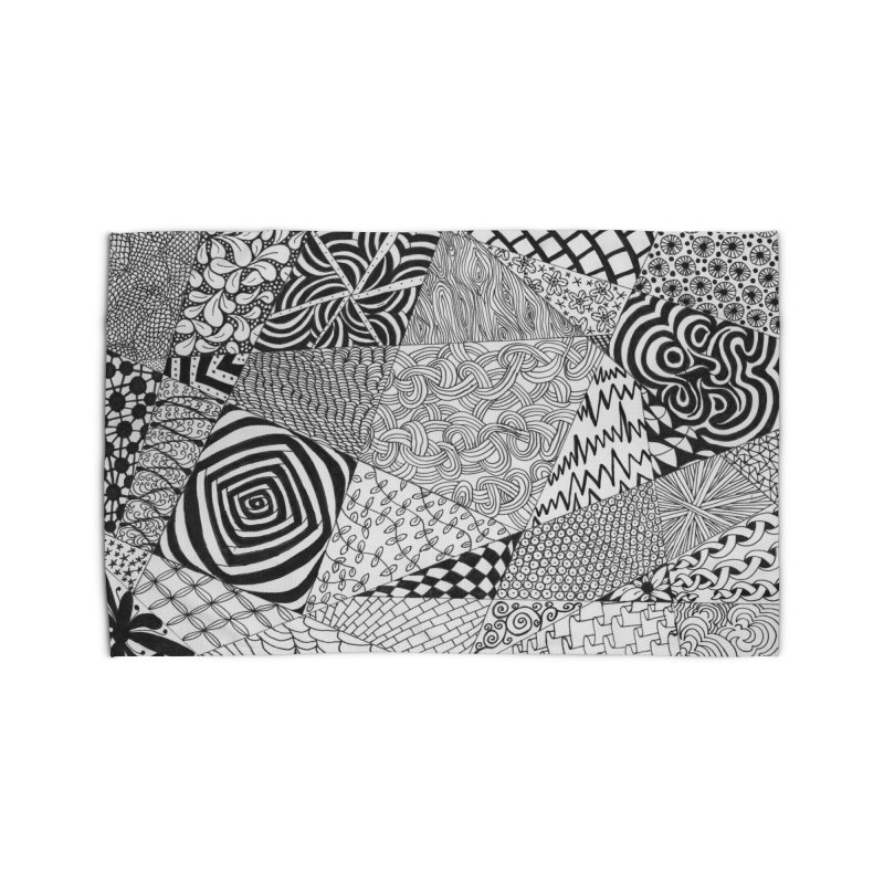 Black and White Tangle Home Rug by Margie Mark's Artist Shop