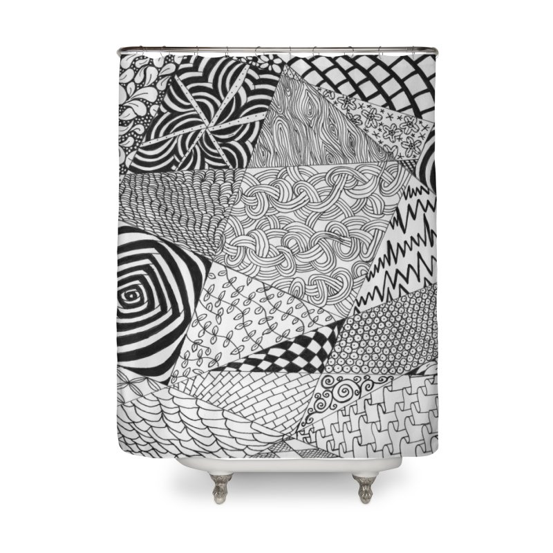 Black and White Tangle Home Shower Curtain by Margie Mark's Artist Shop