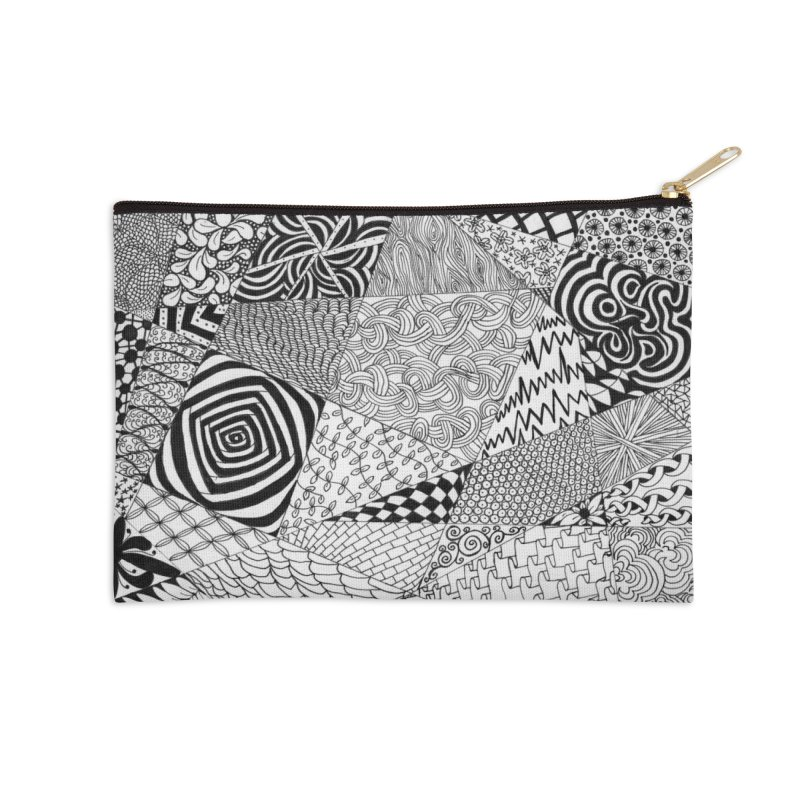Black and White Tangle Accessories Zip Pouch by Margie Mark's Artist Shop