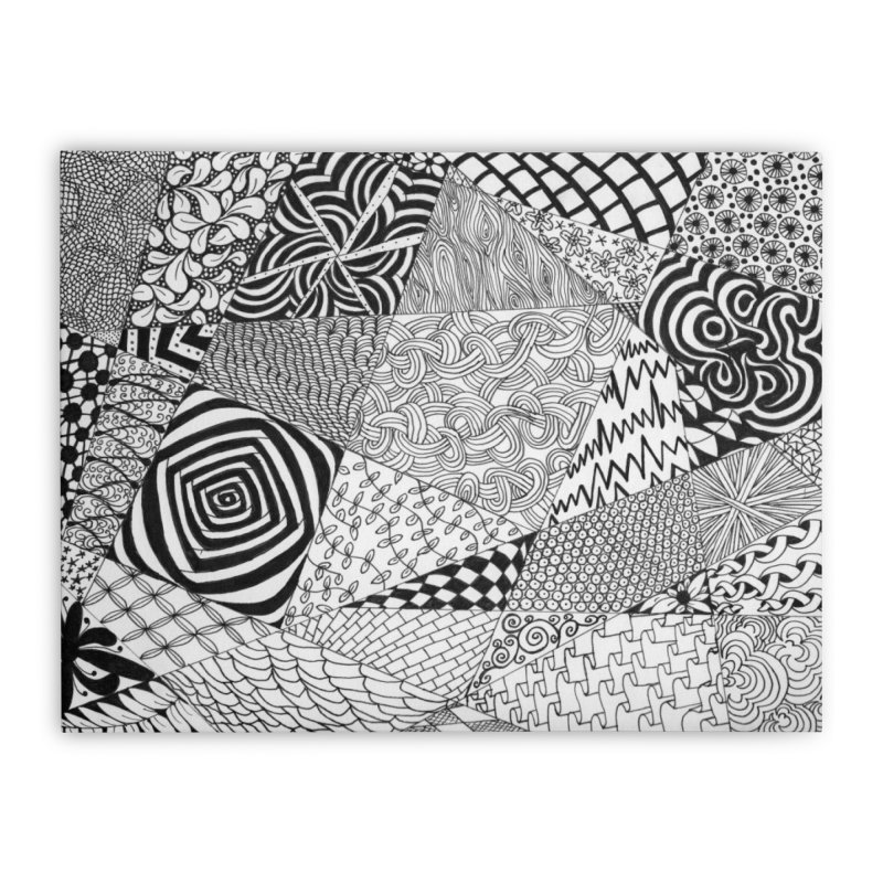 Black and White Tangle Home Stretched Canvas by Margie Mark's Artist Shop