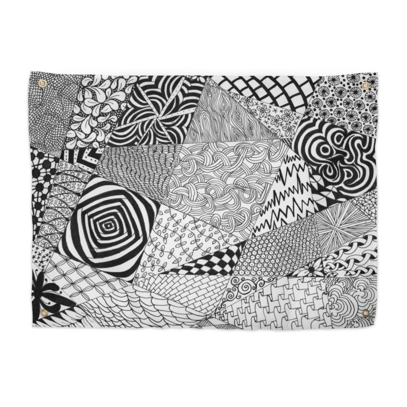 Black and White Tangle Home Tapestry by Margie Mark's Artist Shop