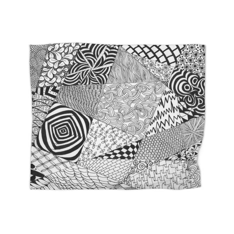 Black and White Tangle Home Blanket by Margie Mark's Artist Shop