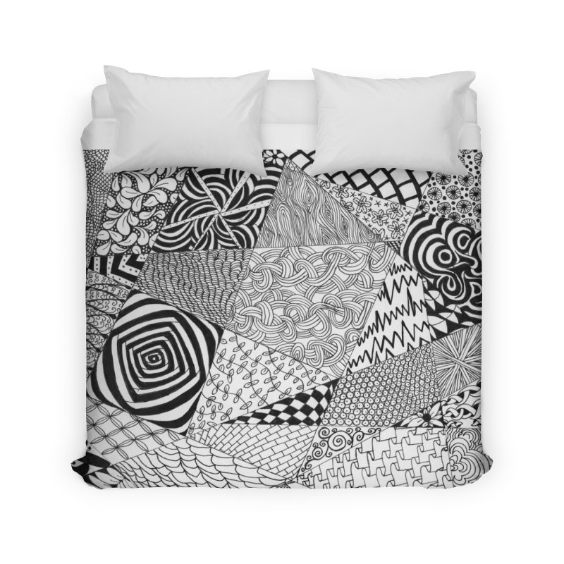 Black and White Tangle Home Duvet by Margie Mark's Artist Shop