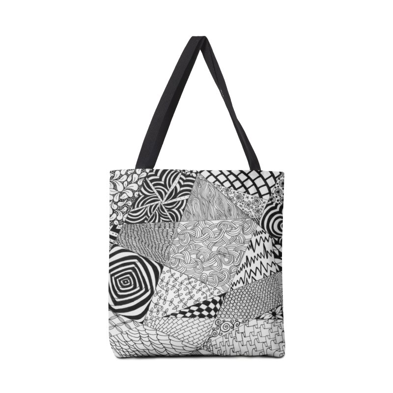 Black and White Tangle Accessories Bag by Margie Mark's Artist Shop