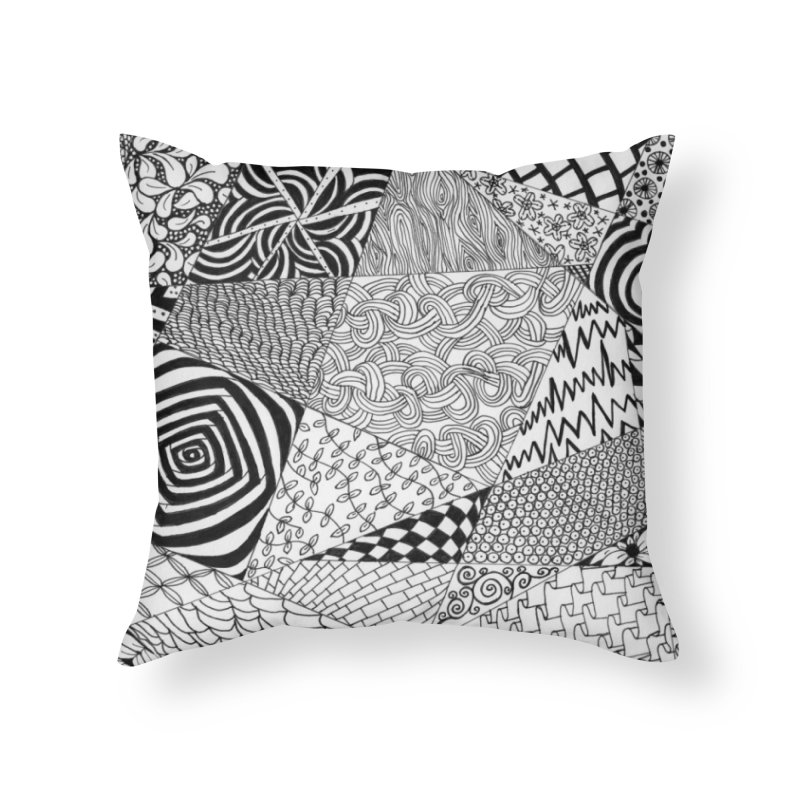 Black and White Tangle Home Throw Pillow by Margie Mark's Artist Shop