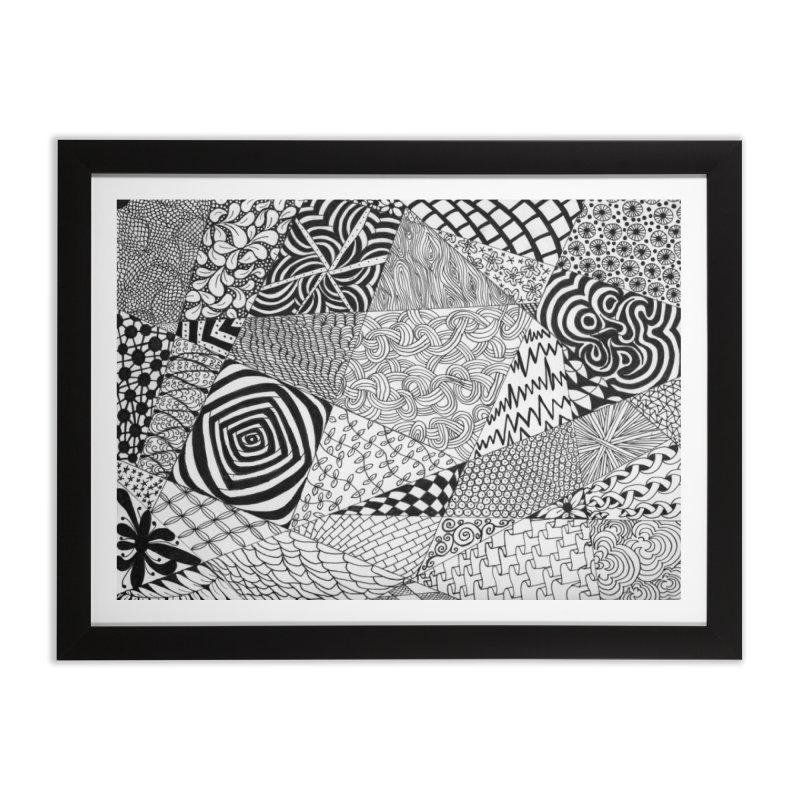 Black and White Tangle Home Framed Fine Art Print by Margie Mark's Artist Shop