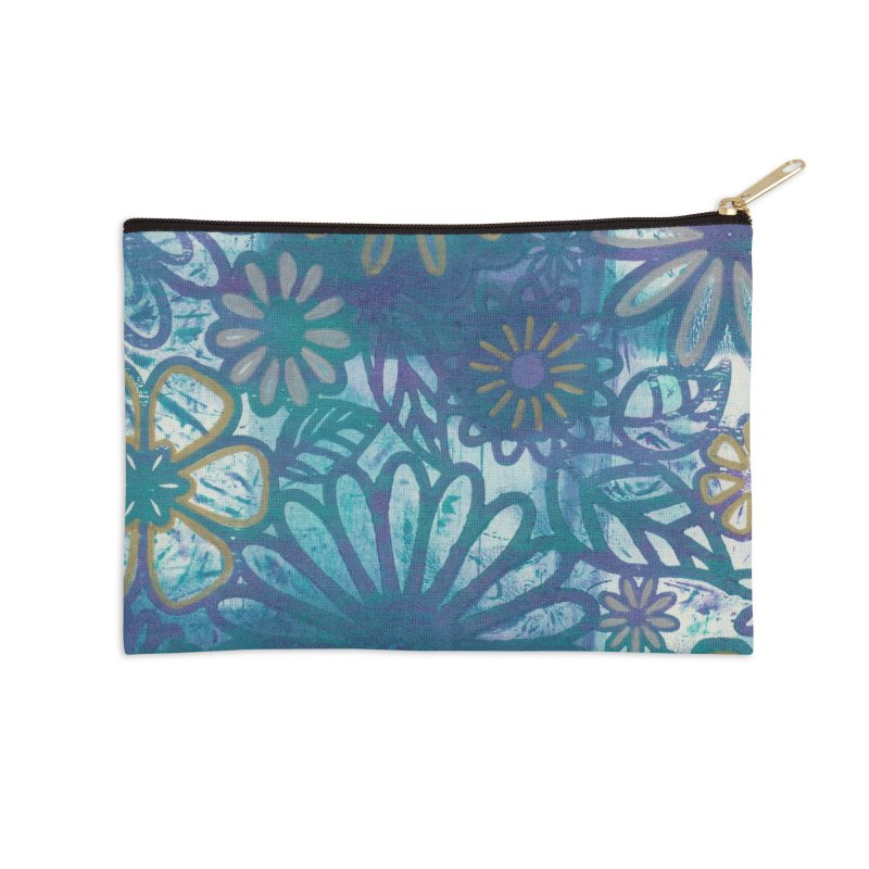 Metallic Daisies Accessories Zip Pouch by Margie Mark's Artist Shop