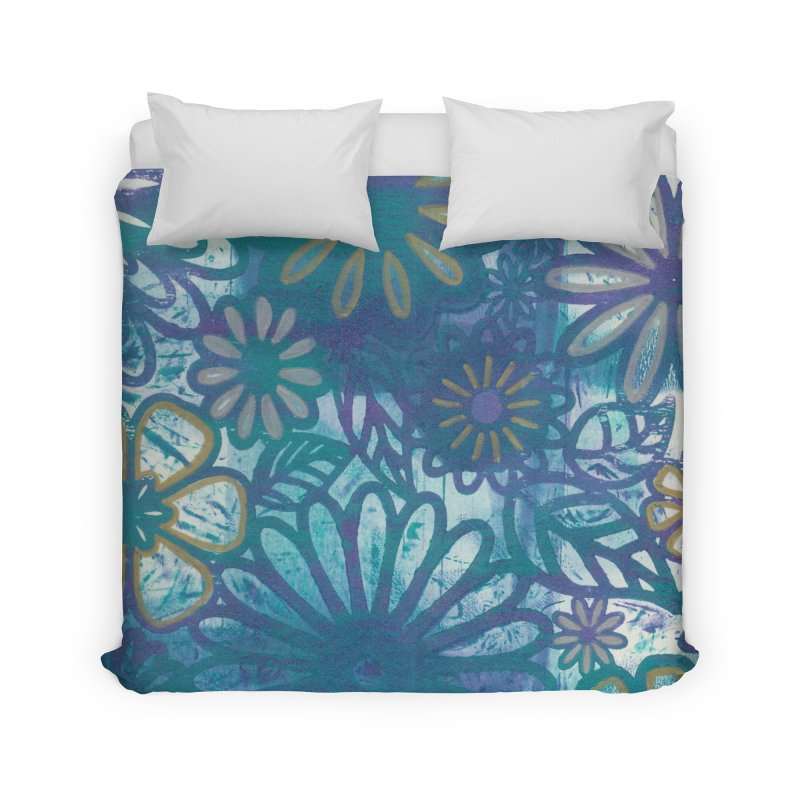Metallic Daisies Home Duvet by Margie Mark's Artist Shop