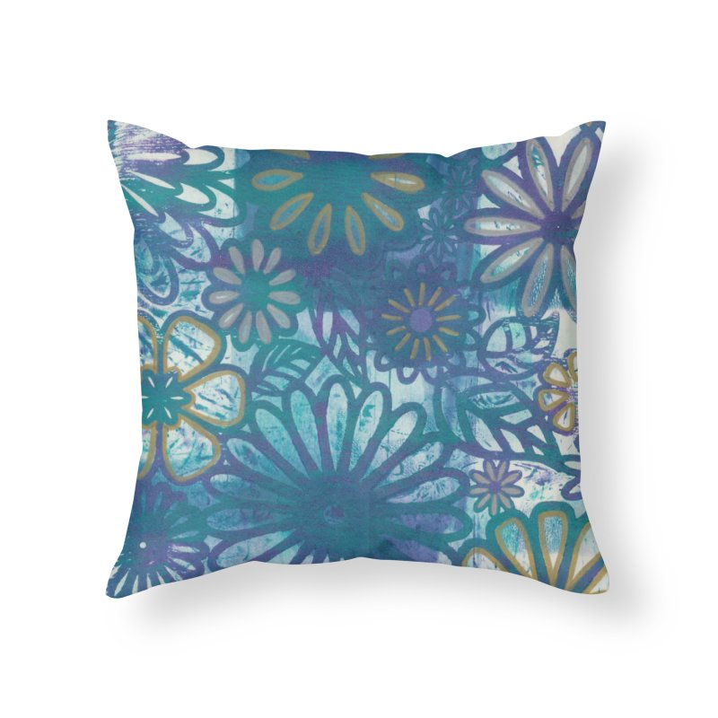 Metallic Daisies Home Throw Pillow by Margie Mark's Artist Shop