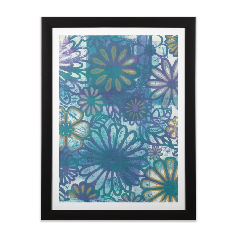 Metallic Daisies Home Framed Fine Art Print by Margie Mark's Artist Shop
