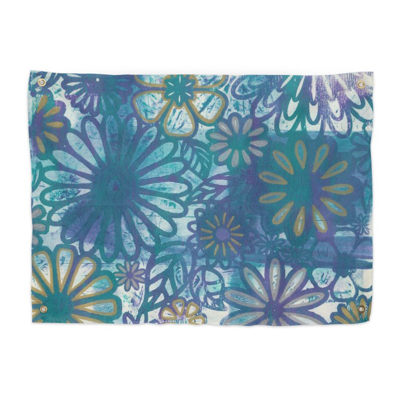Metallic Daisies Home Tapestry by Margie Mark's Artist Shop