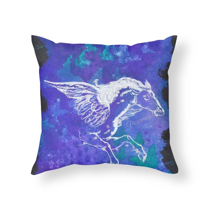 Pegasus Dream Home Throw Pillow by Margie Mark's Artist Shop