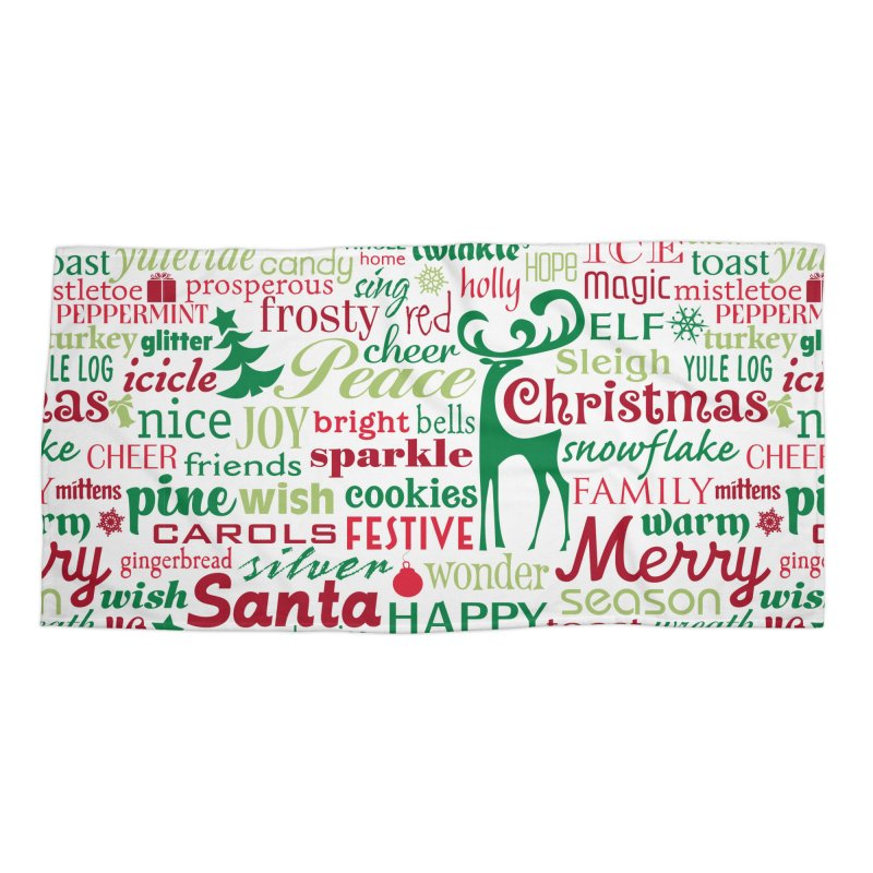 Holiday Words Accessories Beach Towel by Margie Mark's Artist Shop