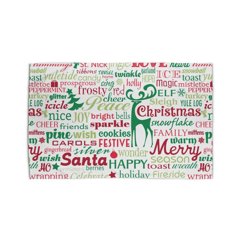Holiday Words Home Rug by Margie Mark's Artist Shop