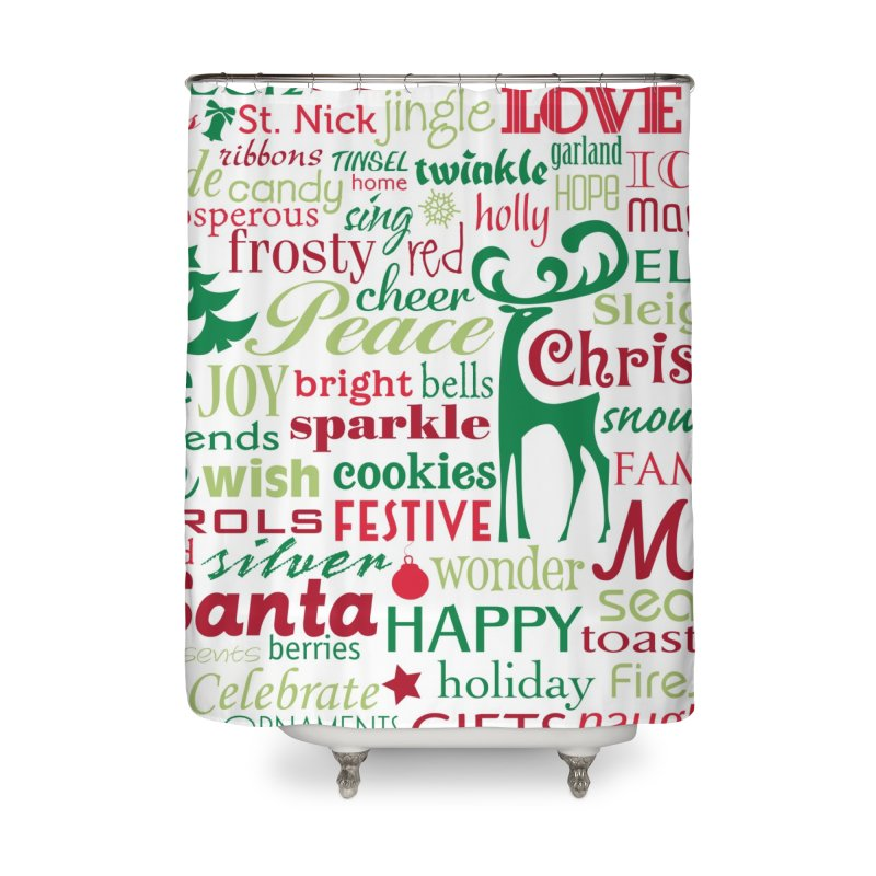 Holiday Words Home Shower Curtain by Margie Mark's Artist Shop