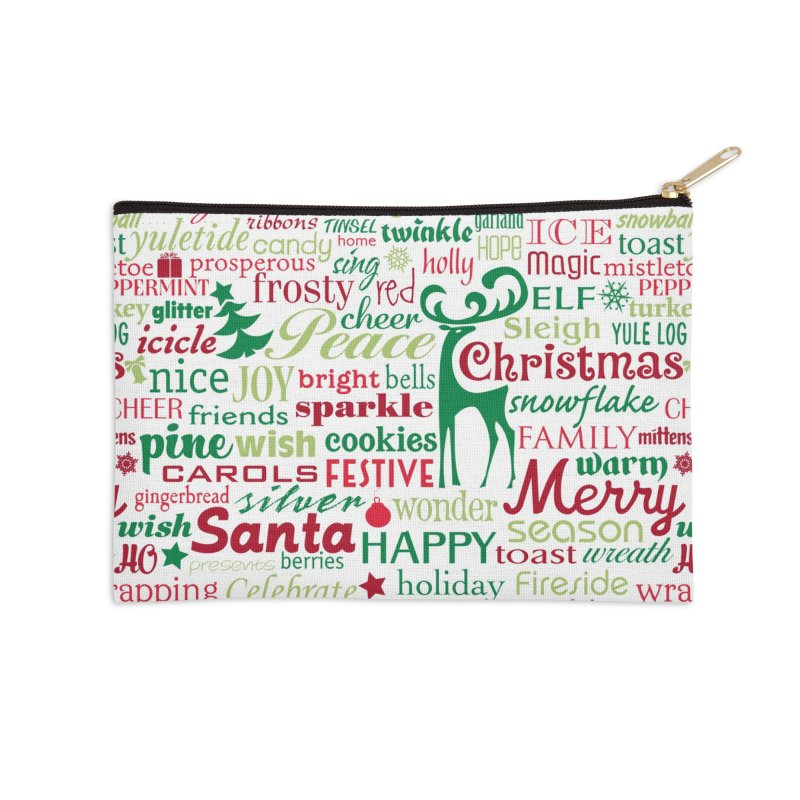 Holiday Words Accessories Zip Pouch by Margie Mark's Artist Shop
