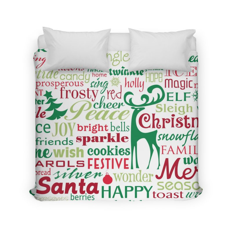 Holiday Words Home Duvet by Margie Mark's Artist Shop