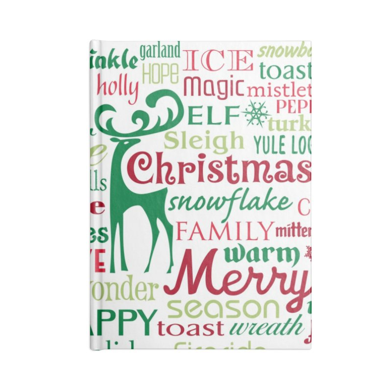 Holiday Words Accessories Notebook by Margie Mark's Artist Shop