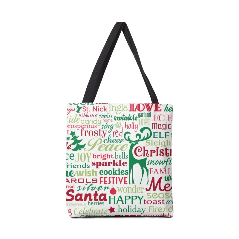 Holiday Words Accessories Bag by Margie Mark's Artist Shop