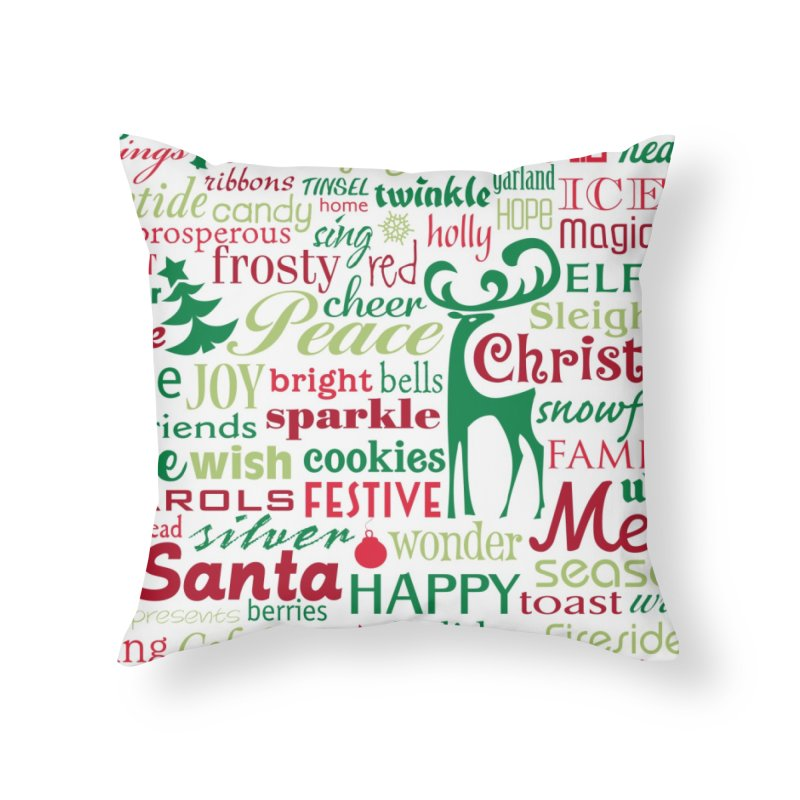 Holiday Words Home Throw Pillow by Margie Mark's Artist Shop