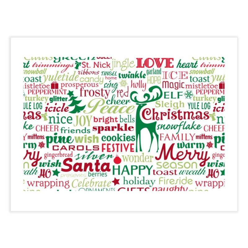 Holiday Words Home Fine Art Print by Margie Mark's Artist Shop