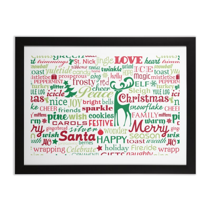 Holiday Words Home Framed Fine Art Print by Margie Mark's Artist Shop