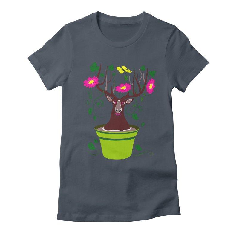 DearDeer Women's Fitted T-Shirt by mariabelonesart's Artist Shop