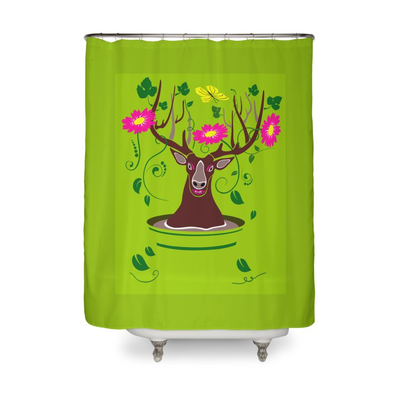 DearDeer Home Shower Curtain by mariabelonesart's Artist Shop