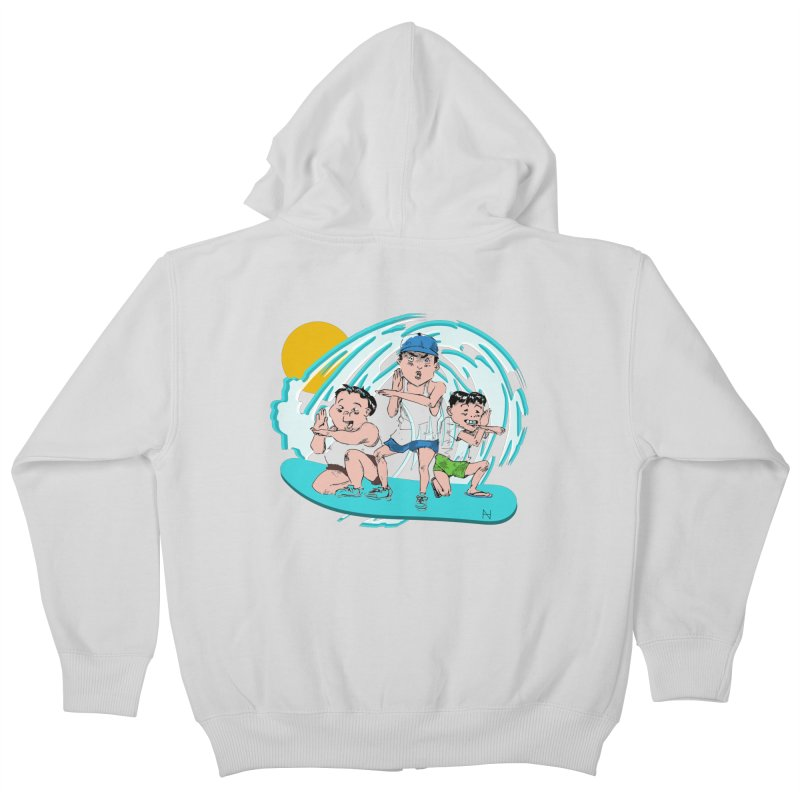 Tokyo Surfing Primary School Kids Zip-Up Hoody by mariabelonesart's Artist Shop