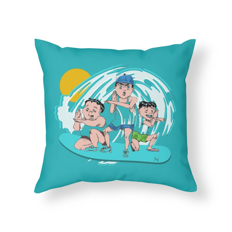 Tokyo Surfing Primary School Home Throw Pillow by MariabelonesART
