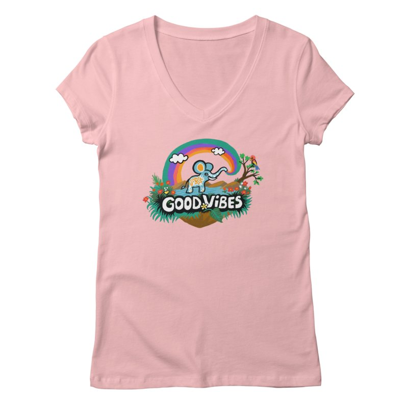 GOOD VIBES Women's V-Neck by Art & design by Maria Daniela Hästö