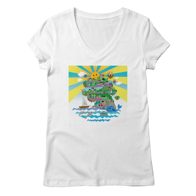 Happy mountain Women's V-Neck by Art & design by Maria Daniela Hästö