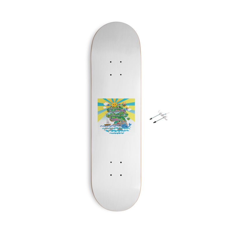 Happy mountain Accessories Skateboard by Art & design by Maria Daniela Hästö