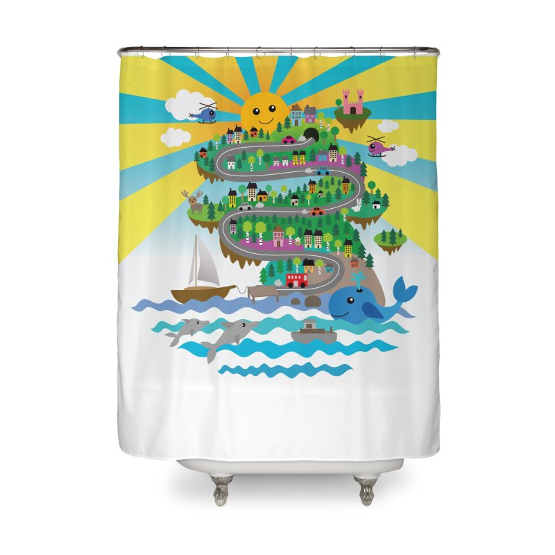 Happy mountain Home Shower Curtain by Art & design by Maria Daniela Hästö