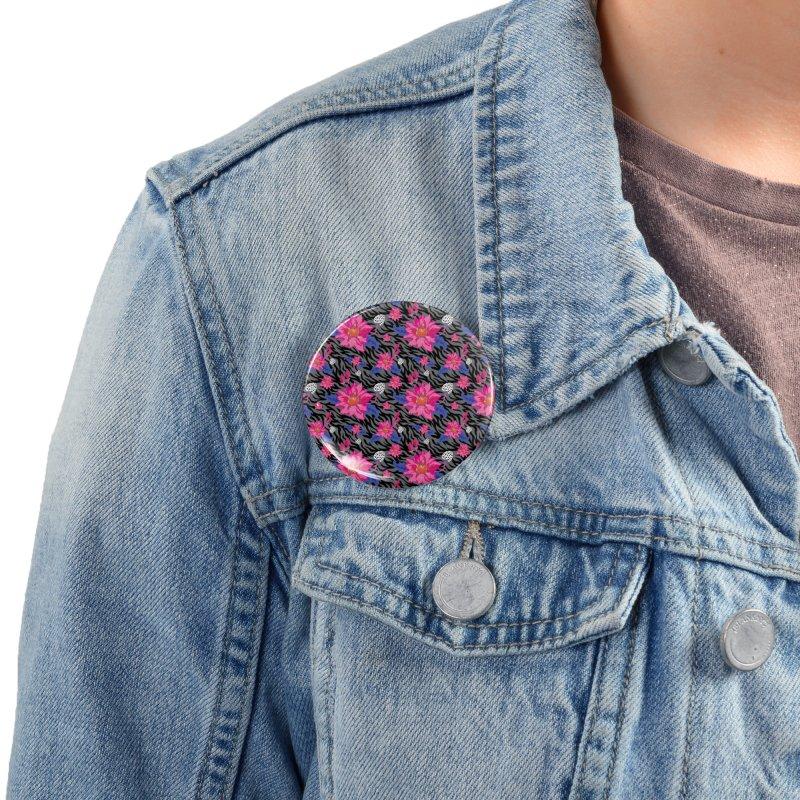 Zebra flower pattern Accessories Button by Art & design by Maria Daniela Hästö