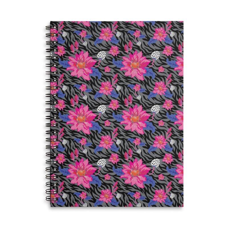 Zebra flower pattern Accessories Notebook by Art & design by Maria Daniela Hästö