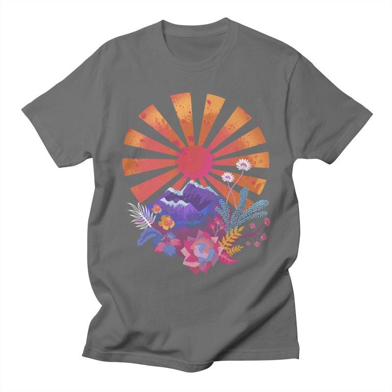 Abstract sun mountains and flowers Men's T-Shirt by Art & design by Maria Daniela Hästö