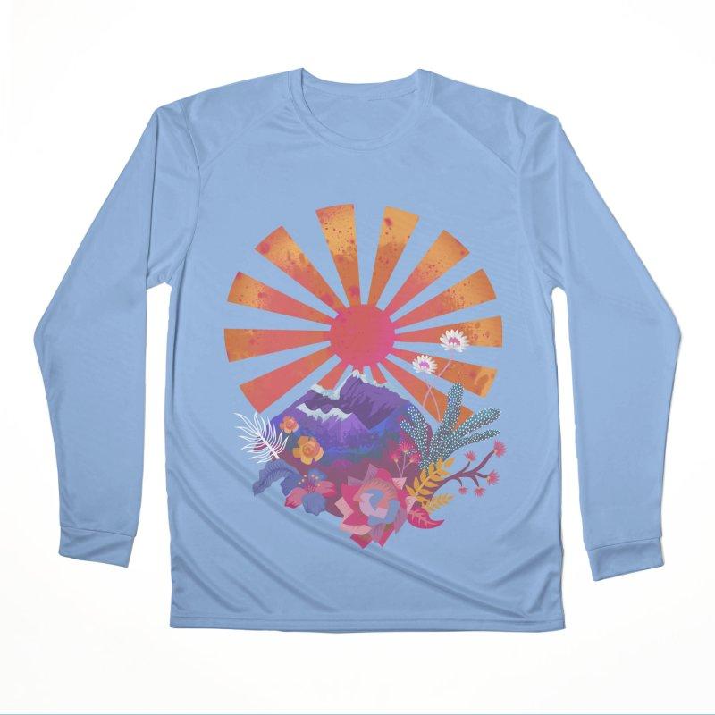Abstract sun mountains and flowers Men's Longsleeve T-Shirt by Art & design by Maria Daniela Hästö