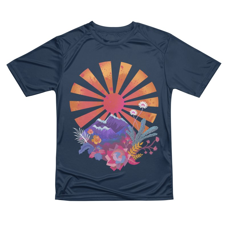 Abstract sun mountains and flowers Men's T-Shirt by Art & design by Maria Daniela Hästö