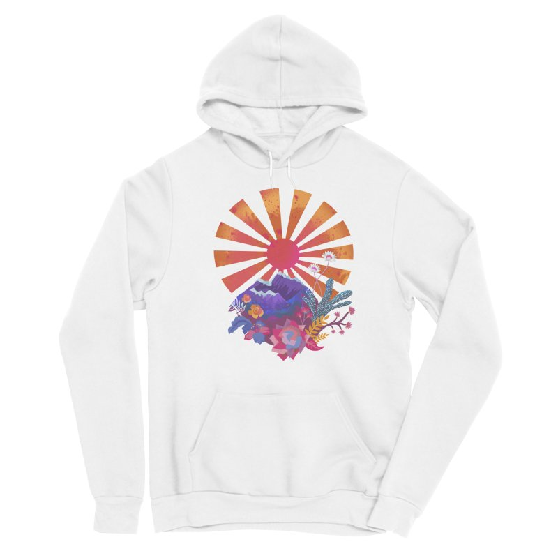Abstract sun mountains and flowers Men's Pullover Hoody by Art & design by Maria Daniela Hästö