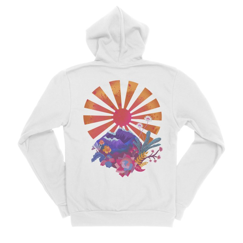 Abstract sun mountains and flowers Men's Zip-Up Hoody by Art & design by Maria Daniela Hästö