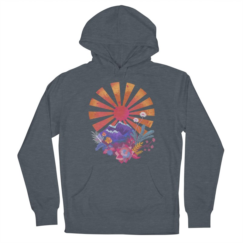 Abstract sun mountains and flowers Women's Pullover Hoody by Art & design by Maria Daniela Hästö