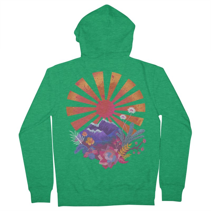 Abstract sun mountains and flowers Women's Zip-Up Hoody by Art & design by Maria Daniela Hästö