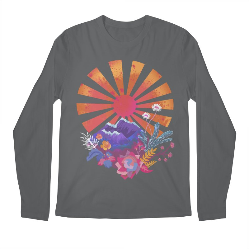 Abstract sun mountains and flowers Men's Longsleeve T-Shirt by Art & design by Maria Daniela Hästö