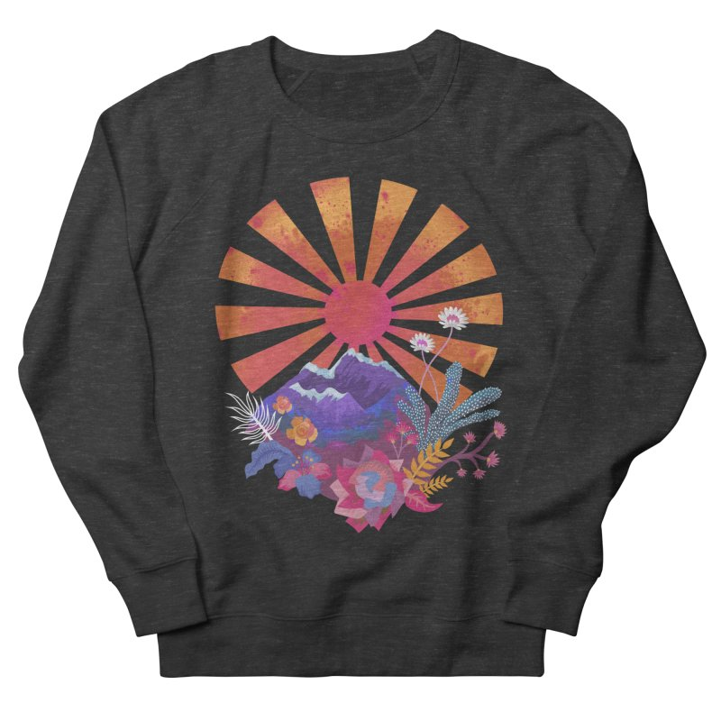 Abstract sun mountains and flowers Women's Sweatshirt by Art & design by Maria Daniela Hästö