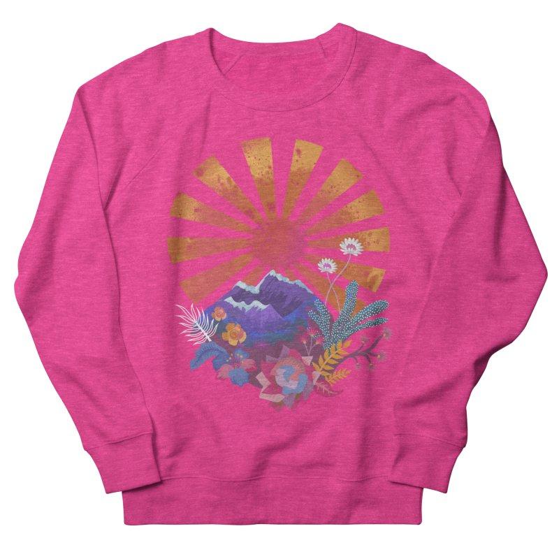 Abstract sun mountains and flowers Women's Sweatshirt by Art & design by Maria Daniela Hästö